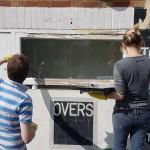 d painting around scoreboard