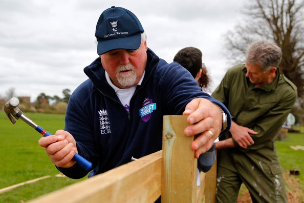 mike gatting at cricketforce with hammer